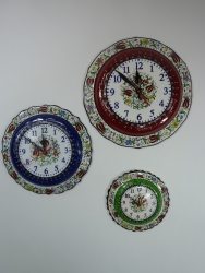 3 Assorted sizes Hand Painted Colorful Kitchen Clocks