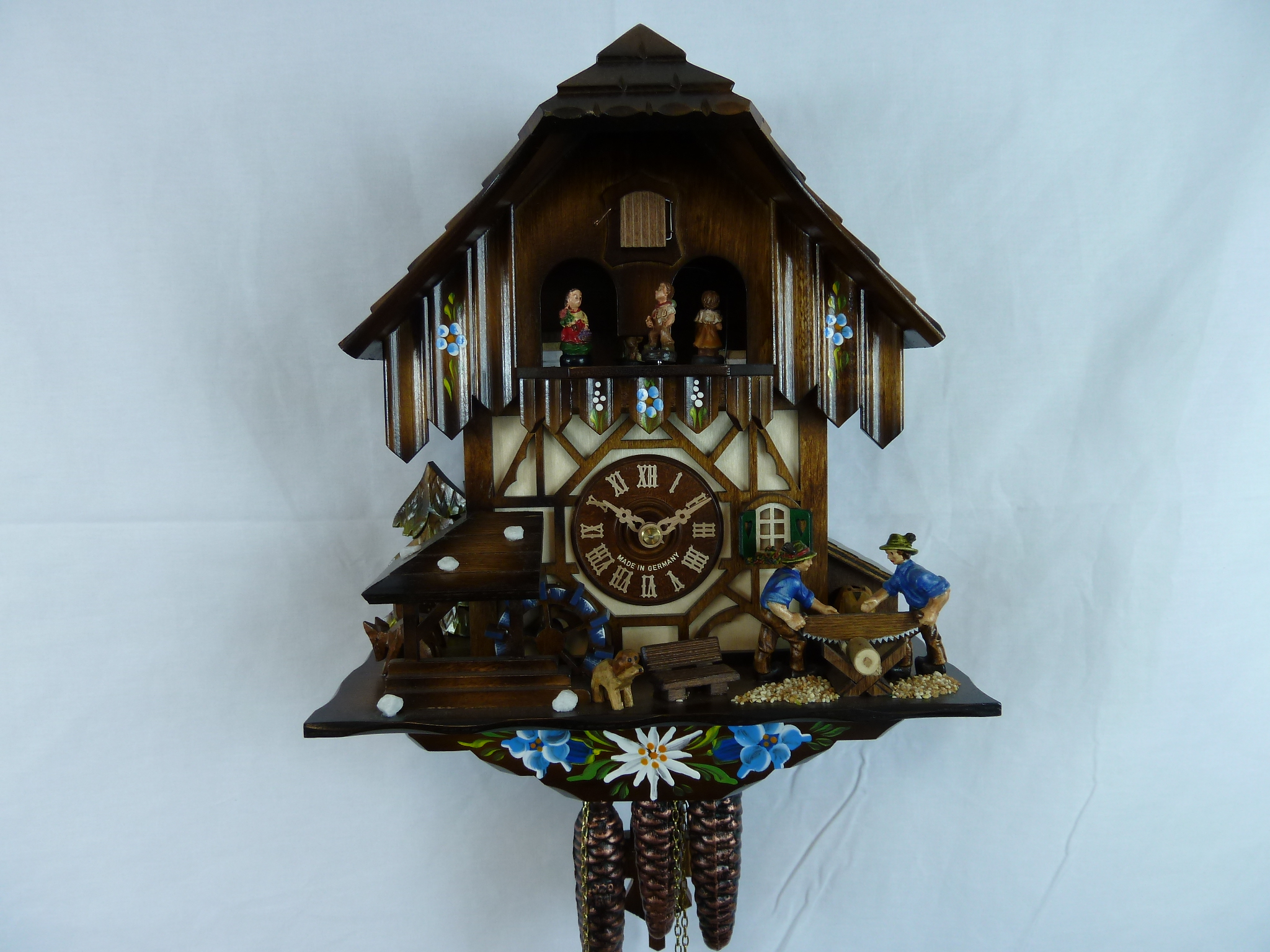 Blue Saw 1 Day Musical Chalet Cuckoo Clock