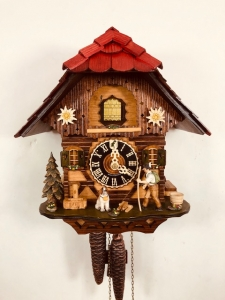 Loetscher cuckoo clock 2213 Cow,Ibex,Chimney sweep