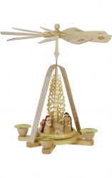 Natural wood finish Nativity creche
