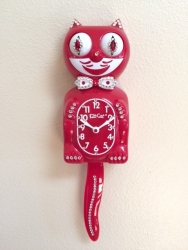 Jeweled Red Kit-Cat Clock