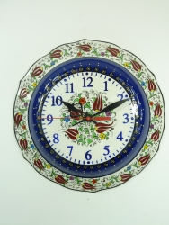 large dark Blue Kutahya Plate Clock