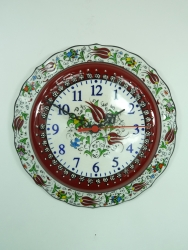 Medium red handmade wall clock