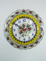 Medium yellow handmade wall clock