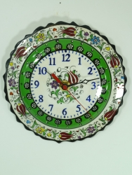 Apple Green Small Hand Painted Clock